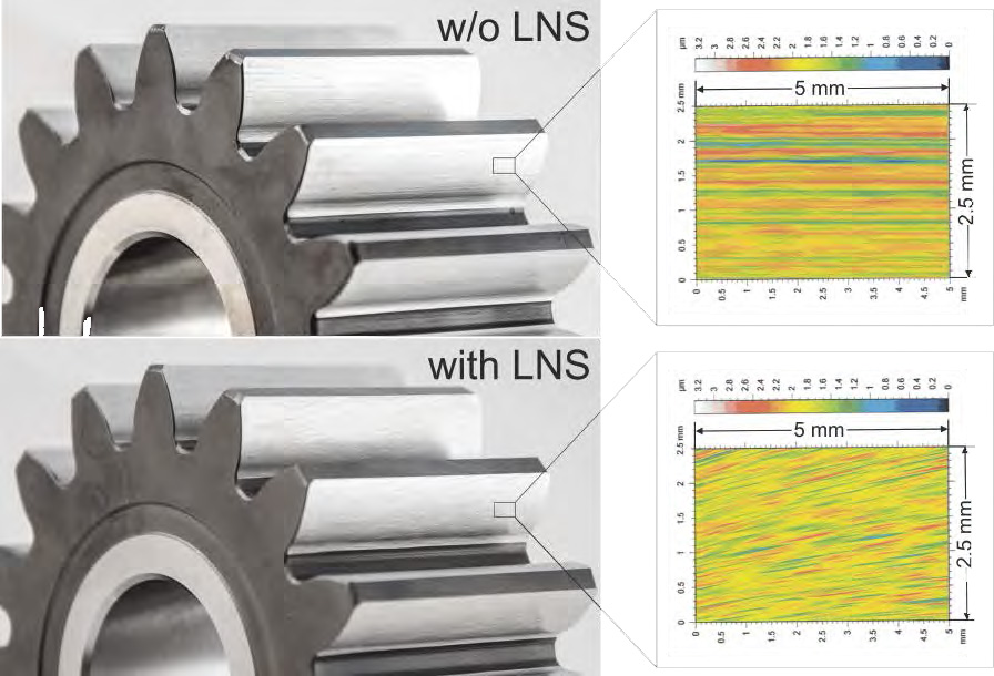 Figure 3 Surface structure w/o and with LNS
